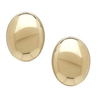 14k Yellow Gold Polished Oval Button Earrings
