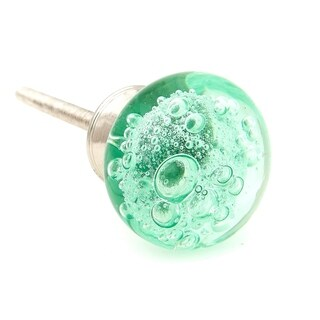 Green Bubbles Glass Drawer/ Door/ Cabinet Knob (Pack of 6)