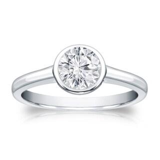 Auriya 18k Gold 1/2ct TDW Round Diamond Solitaire Bezel Engagement Ring (H-I, VS1-VS2)