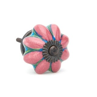 Pink/ Blue/ Green Hand-painted Flower Ceramic Knob (Pack of 6)