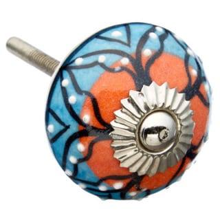 Blue/ Orange Pattern Ceramic Drawer/ Door/ Cabinet Knob (Pack of 6)