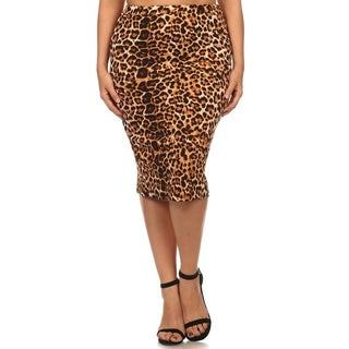 MOA Collection Plus Size Leopard Pencil Skirt