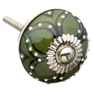 Dark Green Pattern Ceramic Drawer/ Door/ Cabinet Knob (Pack of 6)