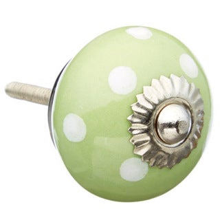 Green with White Polka Dots Ceramic Drawer/ Door/ Cabinet Knob (Pack of 6)