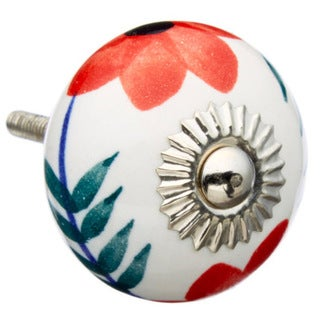 Big Red Daisy Flower Ceramic Drawer/ Door/ Cabinet Knobs (Pack of 6)