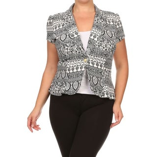 MOA Collection Plus Women's Printed Short Sleeve 1-button Blazer Jacket