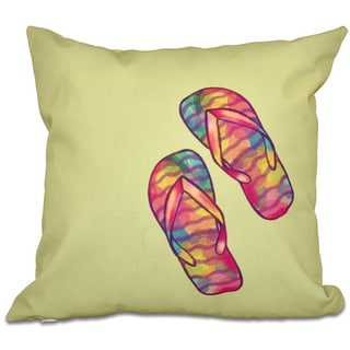 Rainbow Flip Flops Geometric Print 16-inch Throw Pillow