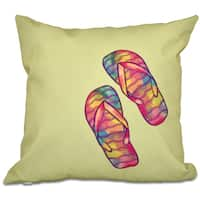 Rainbow Flip Flops Geometric Print 16-inch Throw Pillow
