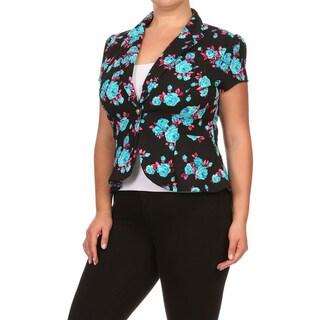 MOA Collection Plus Women's Floral 1-button Blazer Jacket