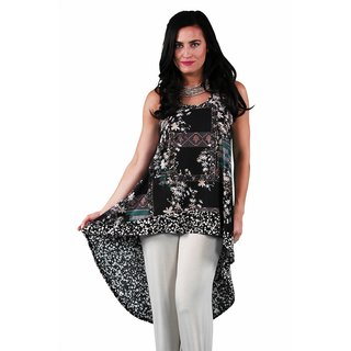 24/7 Comfort Apparel Women's Floral/Spotted Printed Racerback Tunic