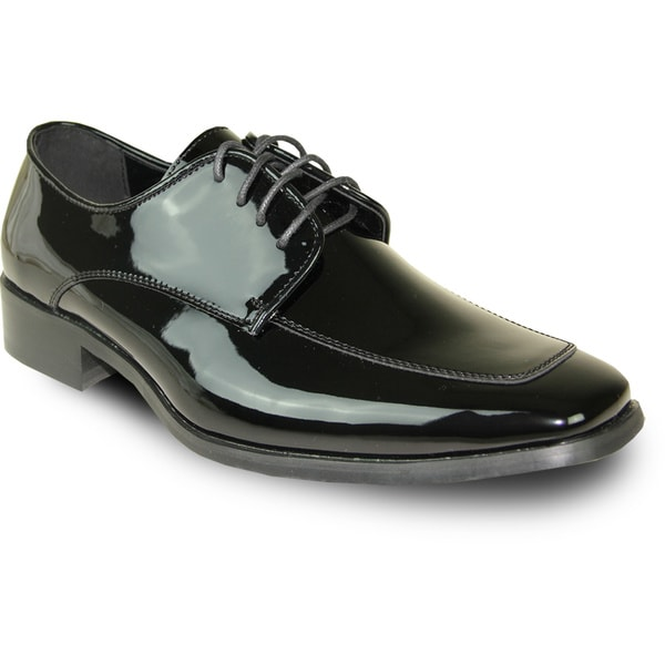 VANGELO Men Dress Shoe TUX-3 Oxford Formal Tuxedo for Prom & Wedding Shoe Black Patent - Wide Width Available