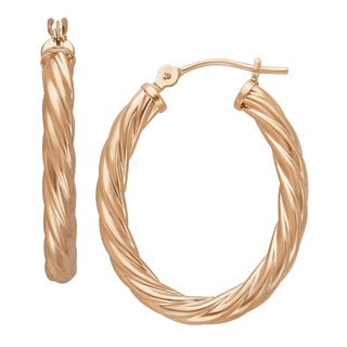 14k Rose Gold 3x20x25mm Polished Twisted Oval Hoop Earrings