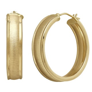 14k Yellow Gold 6x25mm Cigar Band Hoop Earrings