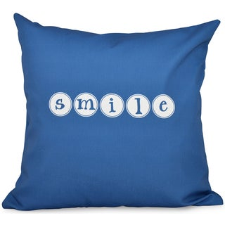 Smile Word Print 16-inch Throw Pillow