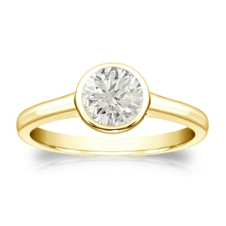 Auriya 18k Gold 1/2ct TDW Round Diamond Solitaire Bezel Engagement Ring (J-K, I1-I2)