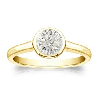 Auriya 18k Gold 1/2ct TDW Round Bezel-Set Diamond Solitaire Engagement Ring