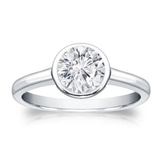 Auriya 18k Gold 3/4ct TDW Round Diamond Solitaire Bezel Engagement Ring (H-I, VS1-VS2)