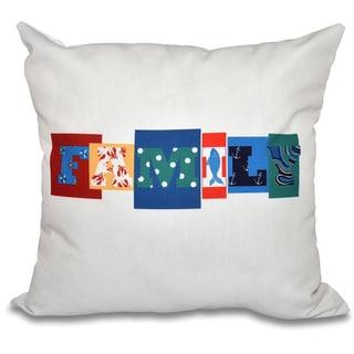 Family Fun Word Print 16-inch Throw Pillow