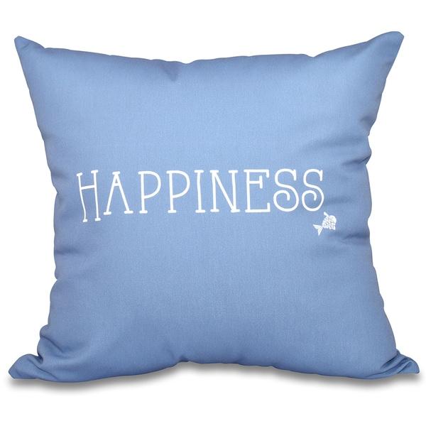 Coastal Happiness Word Print 16-inch Throw Pillow