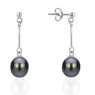 GIG Jewels Sterling Silver Black Cultured Freshwater Pearl and Chain Dangle Earring (8-9 mm)