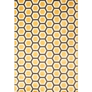 Greyson Living Lattice Tangerine/ Black/ Ivory Viscose Area Rug (5'3 x 7'6)