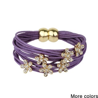 Handmade Saachi Magnetic Layered Bracelet with Flower Charms (China)
