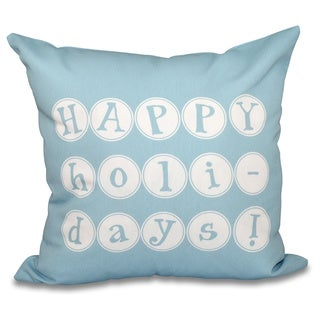 Happy Holidays Word Print 16-inch Throw Pillow