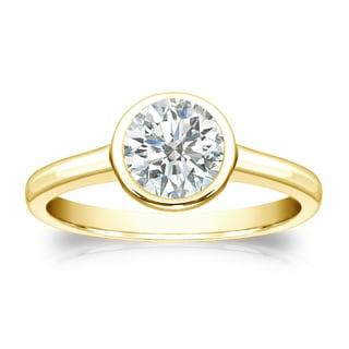Auriya 18k Gold 3/4ct TDW Round Diamond Solitaire Bezel Engagement Ring (I-J, SI1-SI2)