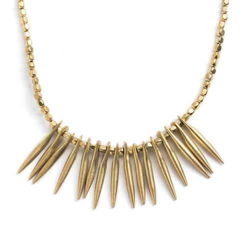 Handmade Akrita Spiked Brass Necklace (India)