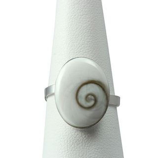 Sterling Silver Inlay Oval Eye of Shiva Shell Classic Ring (Thailand)