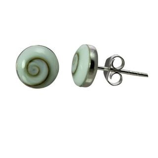 Sterling Silver Inlay Round Eye of Shiva Shell Stud Earrings (Thailand)