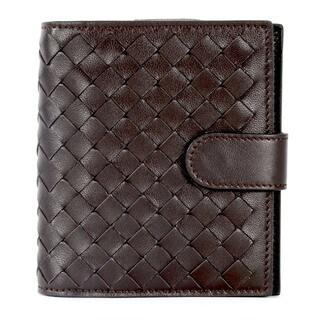 Bottega Veneta Dark Brown Woven Leather Bifold Wallet
