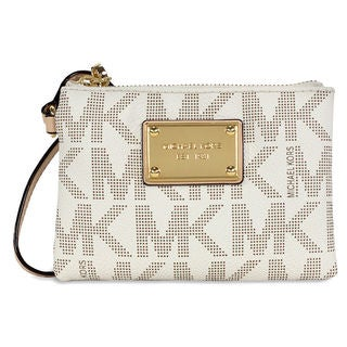Michael Kors Jet Set Vanilla Logo/ Gold Small Signature Wristlet