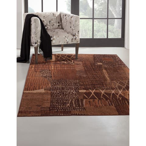Mohave Rust/ Brown/ Gold Viscose Area Rug by Greyson Living