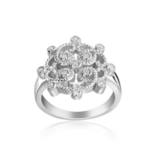 Andrew Charles 14k White Gold 1/6ct TDW Diamond Fashion Vintage Look Ring (H-I, SI2-I1)