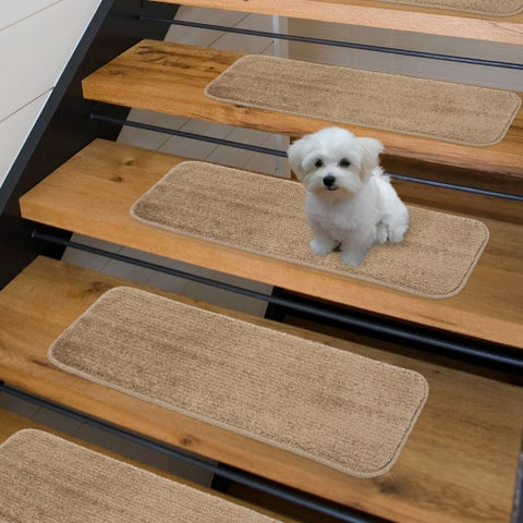 Sweethome Stores Luxury Collection 9-inch x 26-inch Soft Solid Shaggy Nonslip Stair Treads (Pack of 7)