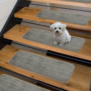 Luxury Collection Soft Solid Shaggy Non-Slip Stair Treads (9 x 26 set of 7 - Grey)