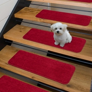 Luxury Collection Soft Solid Shaggy Non-Slip Stair Treads (9 x 26 set of 7 - Red)