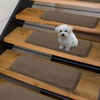 Luxury Collection Soft Solid Shaggy Non-Slip Stair Treads (9 x 26 set of 7 - Brown)