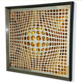 Designart Contemporary Mirror Fire Color Background Framed 3D Acrylic Mirror