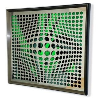 Designart Modern Acrylic Mirror Cyan and Black Framed Vortex Art - Silver/Grey