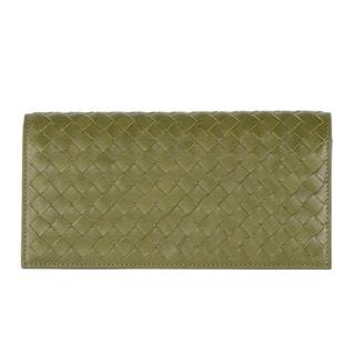 Bottega Veneta Green Woven Leather Bifold Wallet