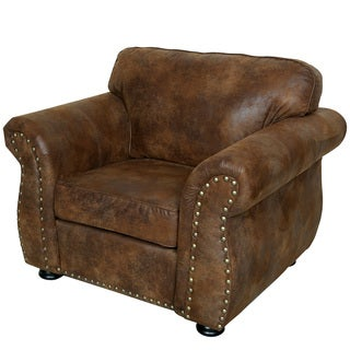 Porter Elk River Faux Suede Leather Microfiber Chair with Nailhead Trim