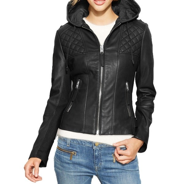 9de1eb39abc4 Shop Michael Michael Kors Black Leather Hooded Jacket - Free Shipping Today  - Overstock - 11484051