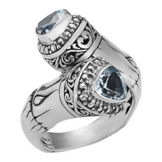 Sterling Silver Blue Topaz Sea Goddess Cawi Ring (Indonesia)