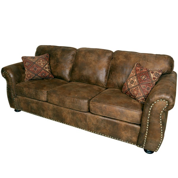 Porter elk river brown microfiber faux suede leather sofa for Best pillows for leather couch