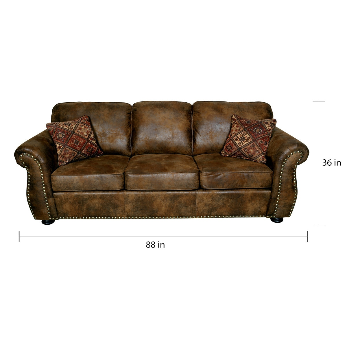 Porter Elk River Brown Microfiber Faux Suede Leather Sofa with 2 Woven  Accent Pillows - 36\