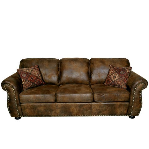 """Porter Elk River Brown Microfiber Faux Suede Leather Sofa with 2 Woven Accent Pillows - 36""""H x 36""""D x 88""""W"""