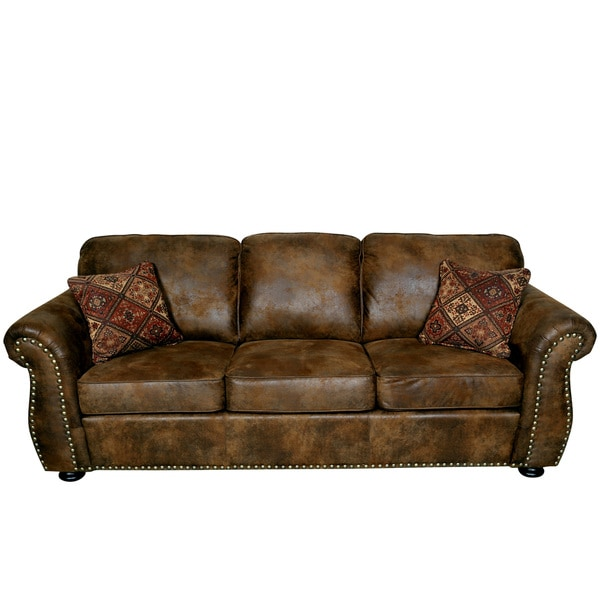 High Quality Porter Elk River Brown Microfiber Faux Suede Leather Sofa With 2 Woven  Accent Pillows