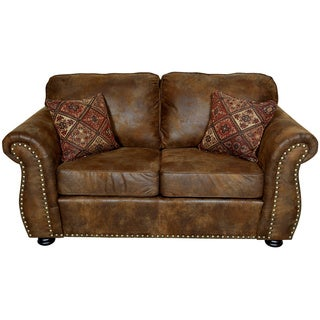 Porter Elk River Brown Faux Leather & Microfiber Loveseat with Woven Accent Pillows